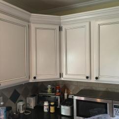 Kitchen Cabinet White Oak Table Sets Light Pewter Cabinets With Black Glaze Pin Stripes - 2 ...