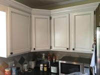 Light Pewter cabinets with Black Glaze pin stripes