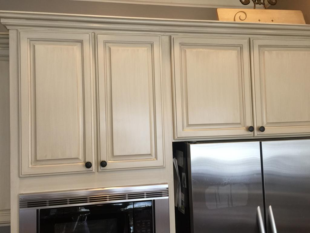 painted kitchen cabinets best buy appliance package sherwin williams antique white and province blue - 2 ...