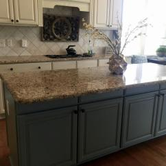 White Distressed Kitchen Cabinets Counter Options Sherwin Williams Antique And Province Blue - 2 ...