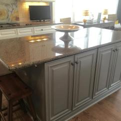 Kitchen Island Cabinet With Pot Rack Sherwin Williams Extra White And Benjamin Moore Steel Wool ...