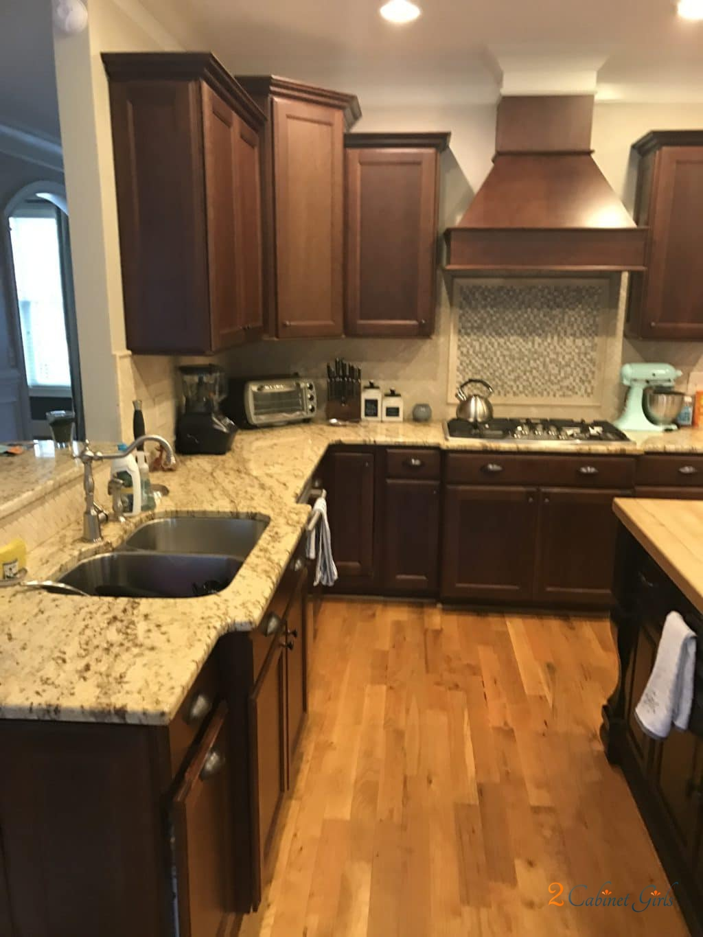 Nacre Kitchen with Tony Taupe Glaze  2 Cabinet Girls