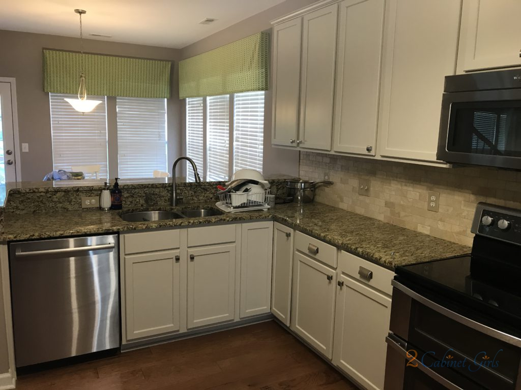 Kitchen Cabinets Painted Baby Fawn White in the Long Lake neighborhood in Raleigh NC