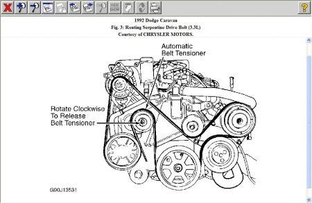1992 Dodge Caravan SERPINTINE BELT ROUTING MAP: 1992 Dodge