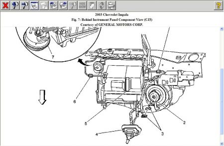2003 Chevy Impala Schematic of Blower Motor Resistor Locati