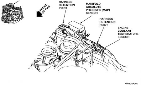 1994 Cadillac Deville Location of Sensor for Coolant Temper