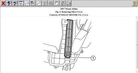 2007 Nissan Altima LOCATION OF THE IN CABIN AIR FILTER