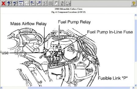 1988 Oldsmobile Ciera Location of Fuel Pump Fuse and Relays