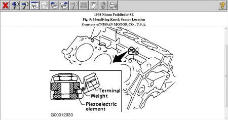 1998 Nissan Pathfinder Knock Sensor: Procedure for
