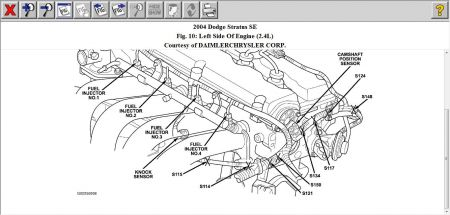 2004 Dodge Stratus Location of Knock Sensor: Engine