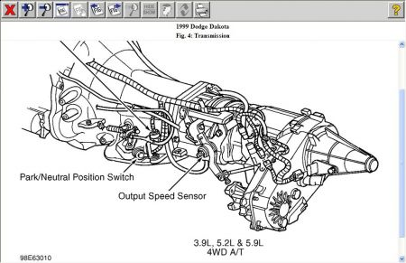 1999 Dodge Dakota Location of Transmission Output Sensor