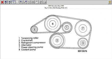 1989 Mercedes Benz 190e Surpintine Belt Routing: Engine