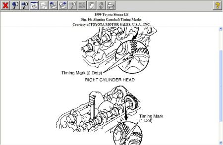 1999 Toyota Sienna Timing Marks: Engine Mechanical Problem