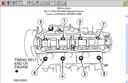 1994 Geo Metro Head Torque Sequnce: Engine Mechanical