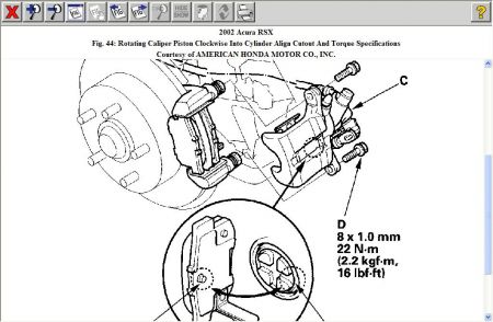 2002 Acura RSX Torque Setting for Caliper Mount Bolts