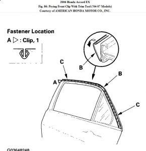 2006 Honda Accord PASS REAR DOOR BELT MOLDING