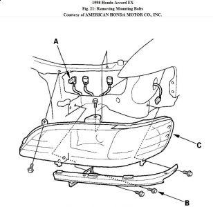 1998 Honda Accord Right Headlamp: Electrical Problem 1998