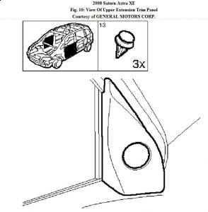 2008 Saturn Astra Removal of Drivers Side Mirror Housing