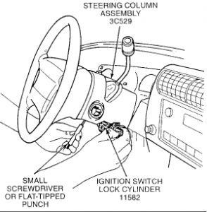 Ignition Switch: Six Cylinder Two Wheel Drive Manual
