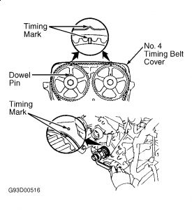 1992 Lexus SC 300 Timing Belt Alignment Marks: Engine