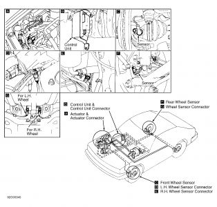 1996 Infiniti G20 Location of ABS Brake Components