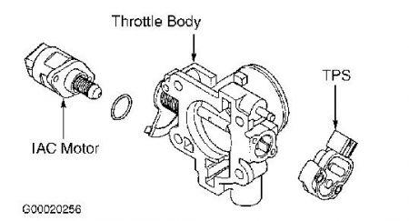2000 Chrysler Sebring THROTTLE POSITION SENSOR: WHERE IS