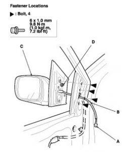 2003 Honda Odyssey Driver's Side View Mirror: 2003 Honda