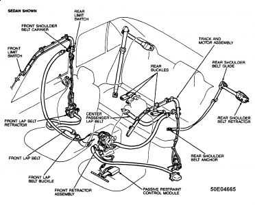 airbag wiring diagram manual chevy hei ignition 1995 ford escort seatbelt mechanism: 4 cyl front ...