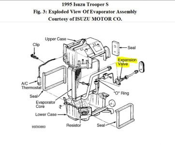 1995 Isuzu Trooper Location of A/C Expansion Valve