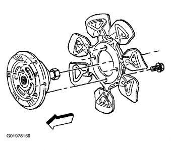 2003 S-10 Fan Clutch Bolt Removal: 4 Cyl. 2.2 L, 2003 S-10