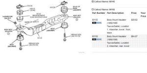 Engine Mounts and Subframe Bushings: Six Cylinder Front Wheel