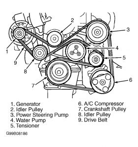1998 Ford Escort Locating Tension Pulley and Serpentine Bel