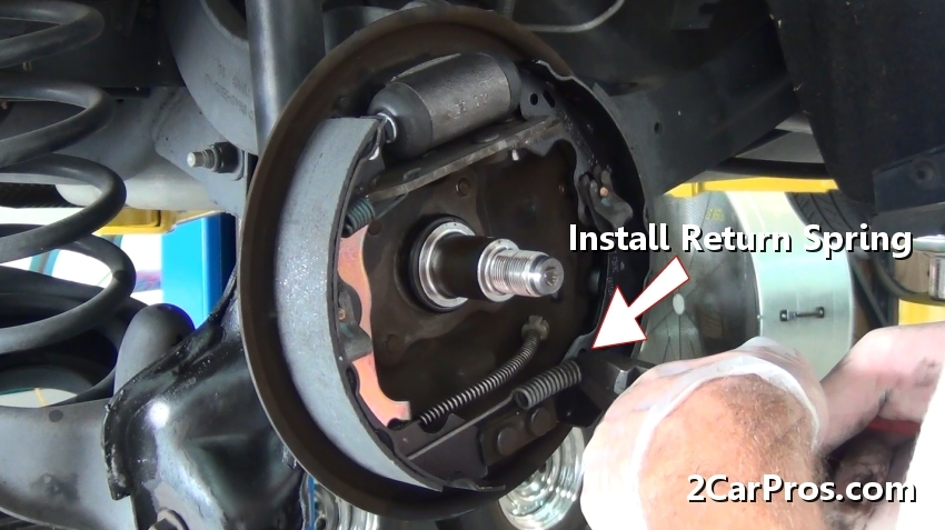 nissan pulsar n15 radio wiring diagram bulldog auto start how to replace brake shoes and drums in under 90 minutes complete the new shoe set reinstallation connect one side of spring attach it that is easiest for you get