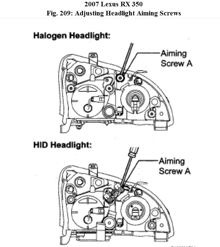 Headlamp: How to Adjust the Headlamps on My RX350 Lexus 2007