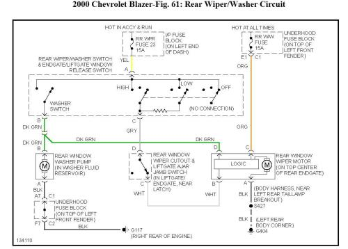small resolution of rear wiper when the ignition is turned on the rear wiper engages rh 2carpros com 1994 chevy blazer wiring diagram chevy blazer trailer wiring diagram