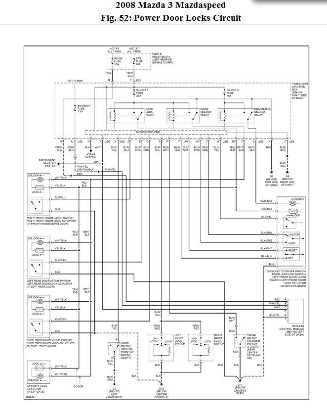 2008 mazda 3 door lock wiring diagram