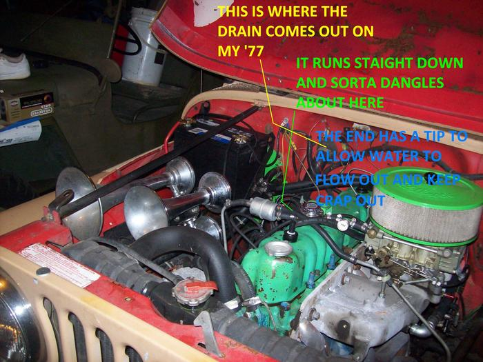 1975 Jeep Cj5 Ignition Wiring Diagram On A 72 Cj5 Where Does The Fresh Air Box Drain Route To