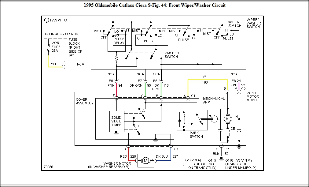 1995 Cutlass Ciera Wiper Motor Diagram: Wiper Schematic
