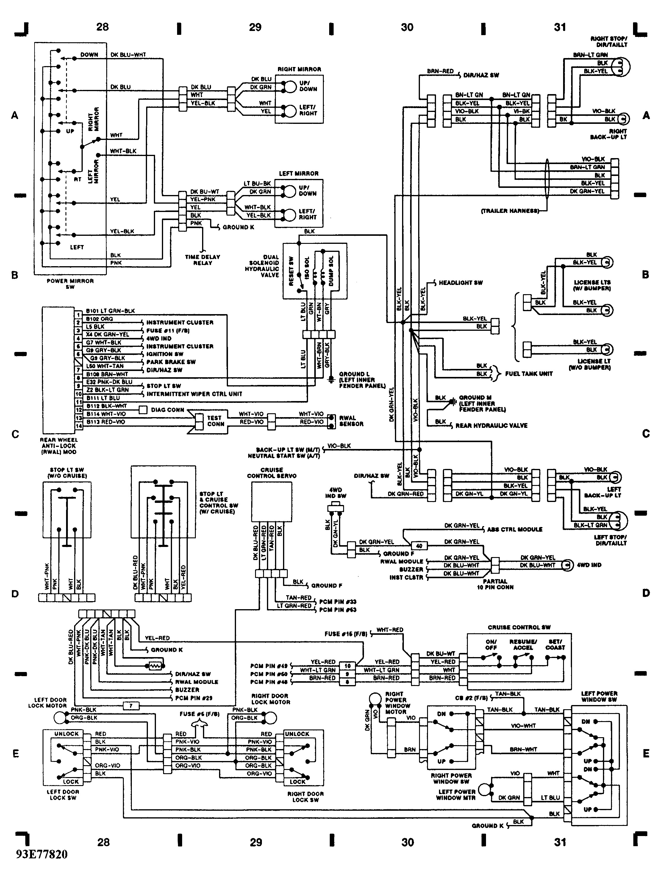 Free Download Exterior Lights Wiring Diagram 91 Toyota P U