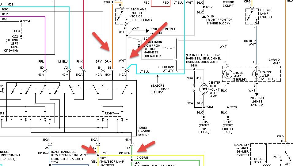 2 lights 1 switch wiring diagram bosch alternator external regulator 1999 chevrolet suburban brake and hazard lights: 99 chevy suburban...
