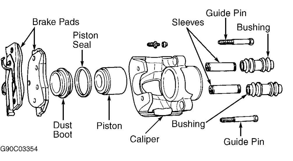 2001 Chrysler PT Cruiser Caliper Mounting Bracket: the