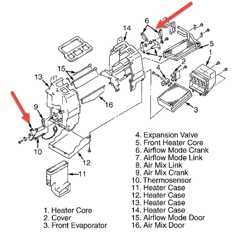 2001 Mazda Premacy VENT DIRECTION SELECTION KNOB: the Vent