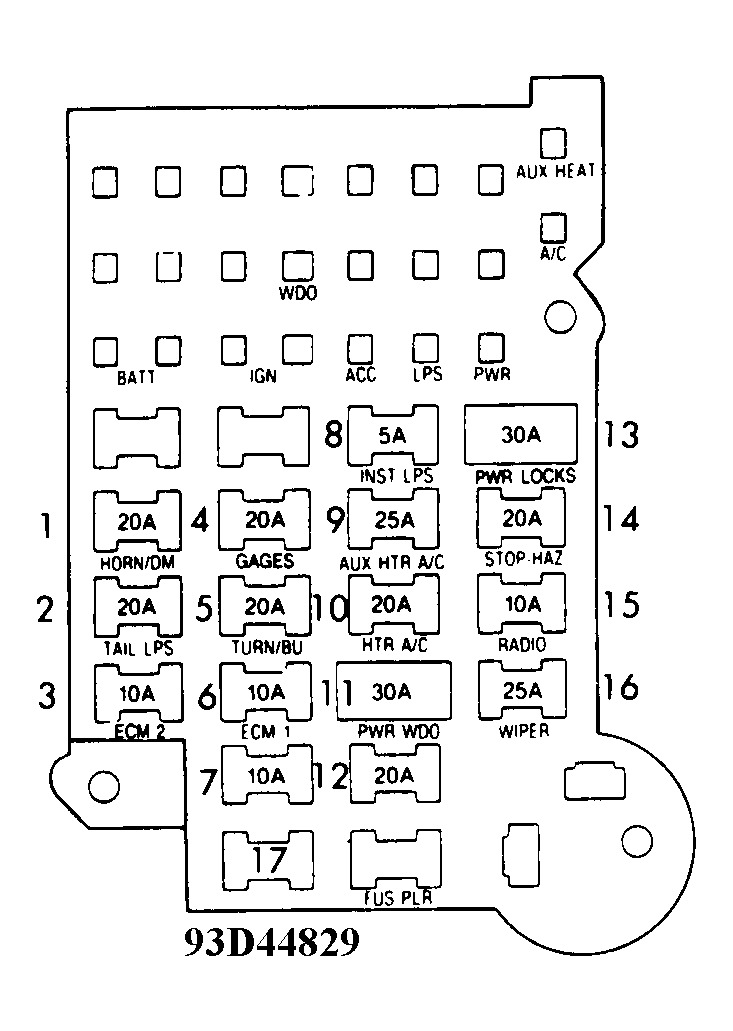 1992 Chevrolet Van Fuse Box: Diagram of Fuse Panel for