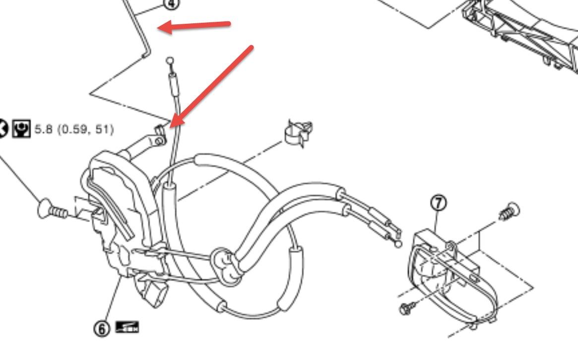 2008 Nissan X-Trail Cant Open Door: Passenger Inside Door