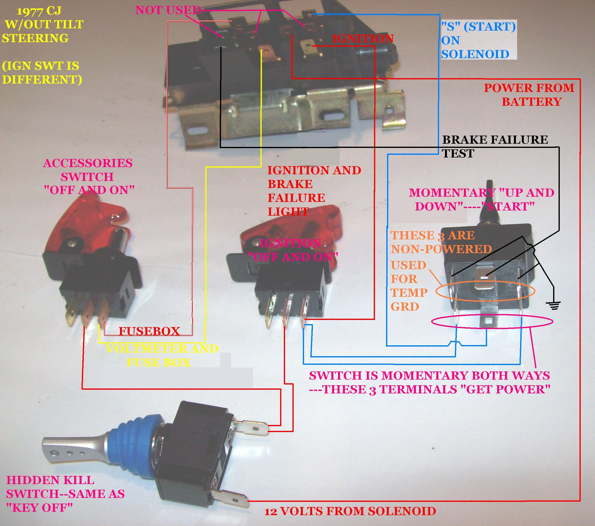 cj5 steering column diagram teco 3 phase induction motor wiring 1977 in need of an ignition pushbutton modification