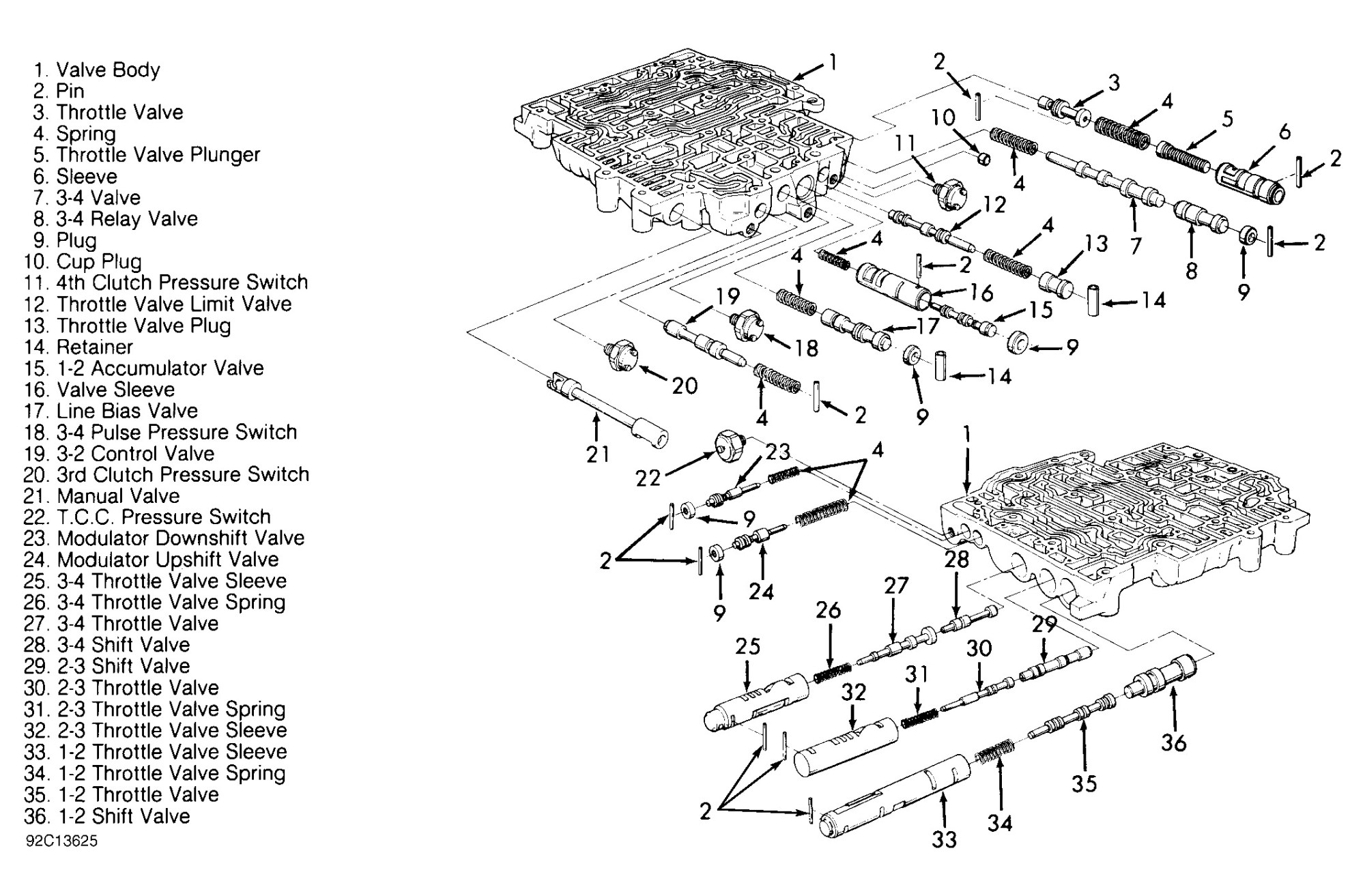 hight resolution of th350 valve body diagram