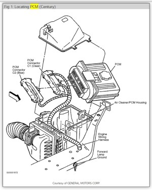 Where Is the ECM Computer Located on the 2001 Buick Century