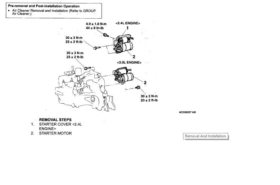 2004 Chrysler Sebring Starter: How Do I Remove the Starter From
