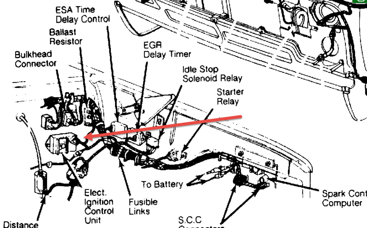 Location of the Ignition Control Module: Location of