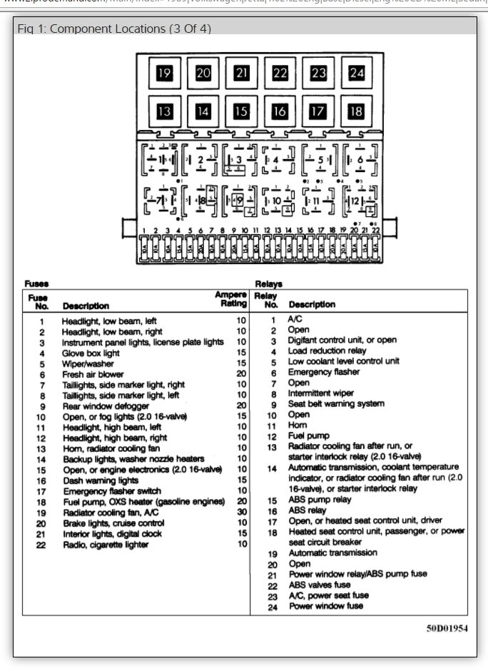 jetta 2 fuse box diagram